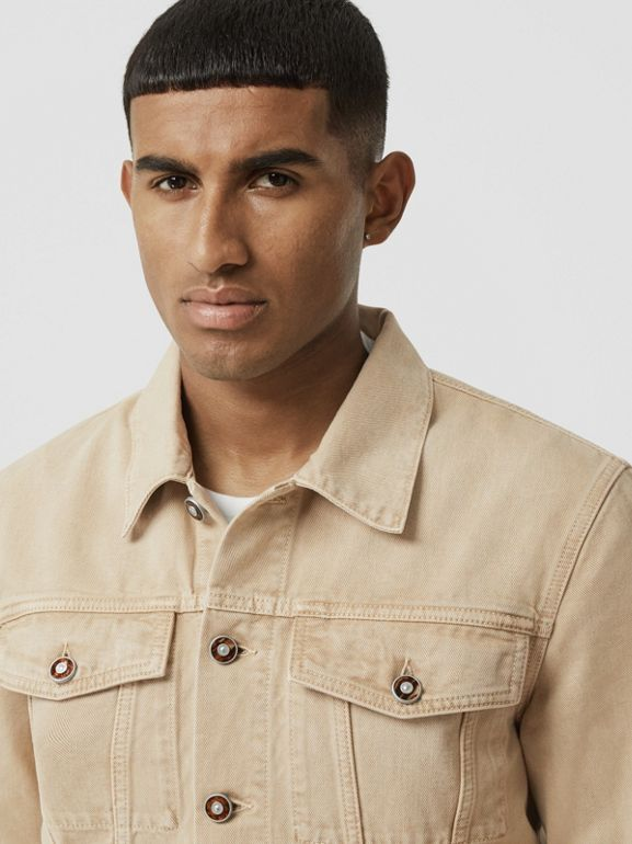 Logo Appliqué Washed Denim Jacket in Pale Grey - Men | Burberry United Kingdom - cell image 1