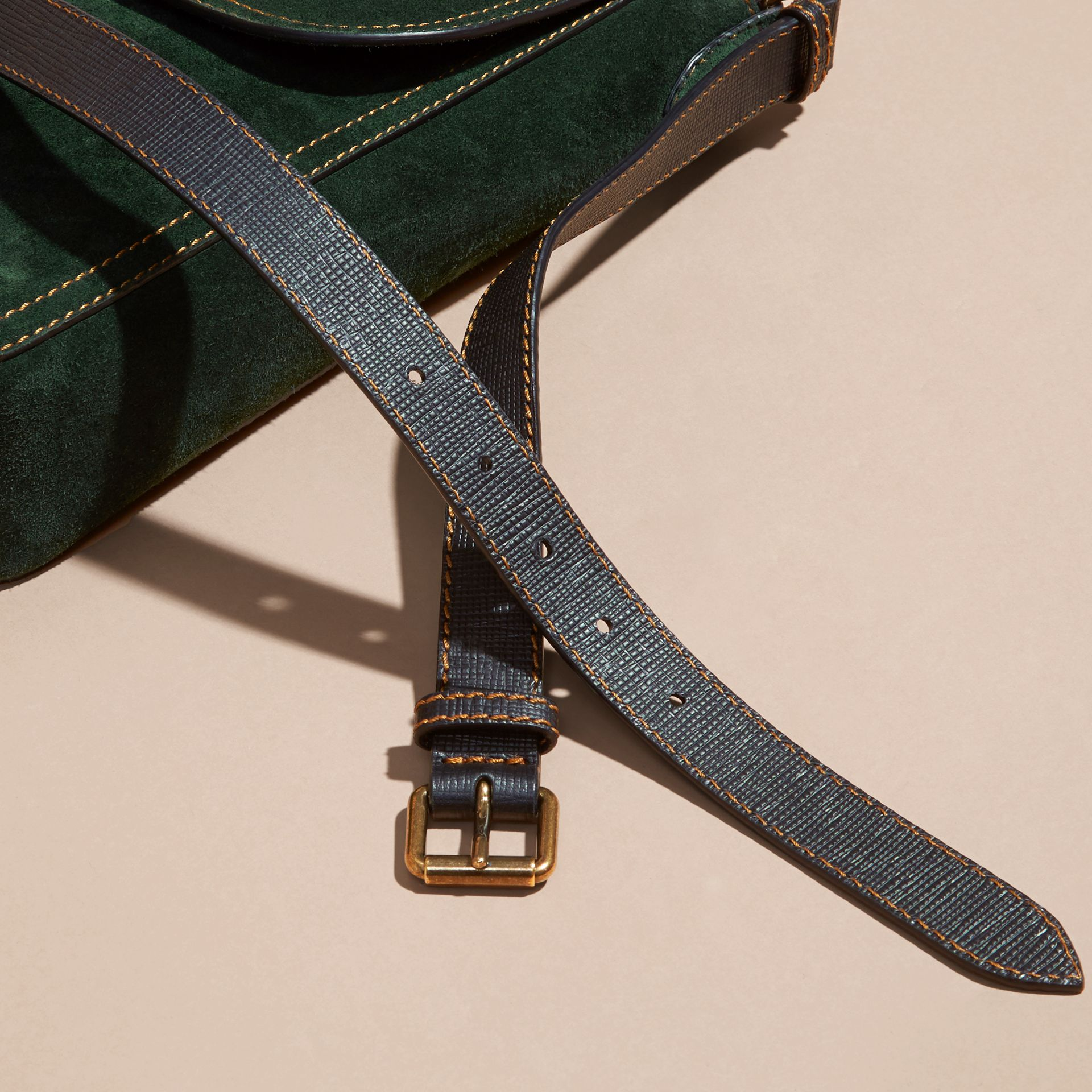 Dark forest green The Medium Satchel in English Suede - gallery image 6
