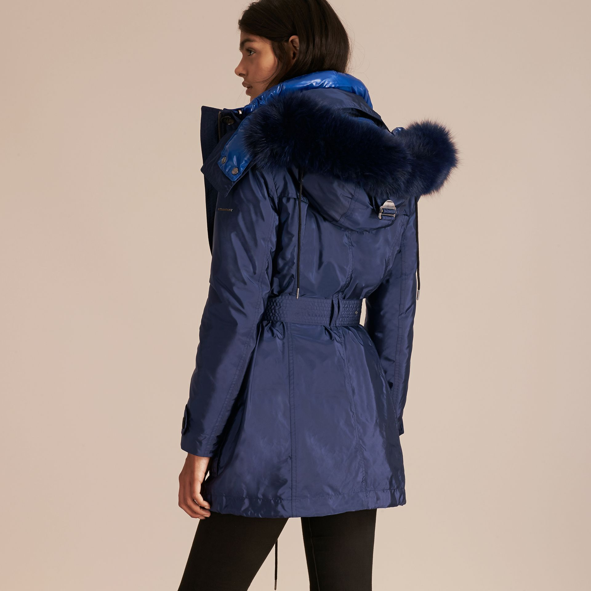 Fur-trimmed Parka with Detachable Down-filled Jacket in Ink Blue - gallery image 7