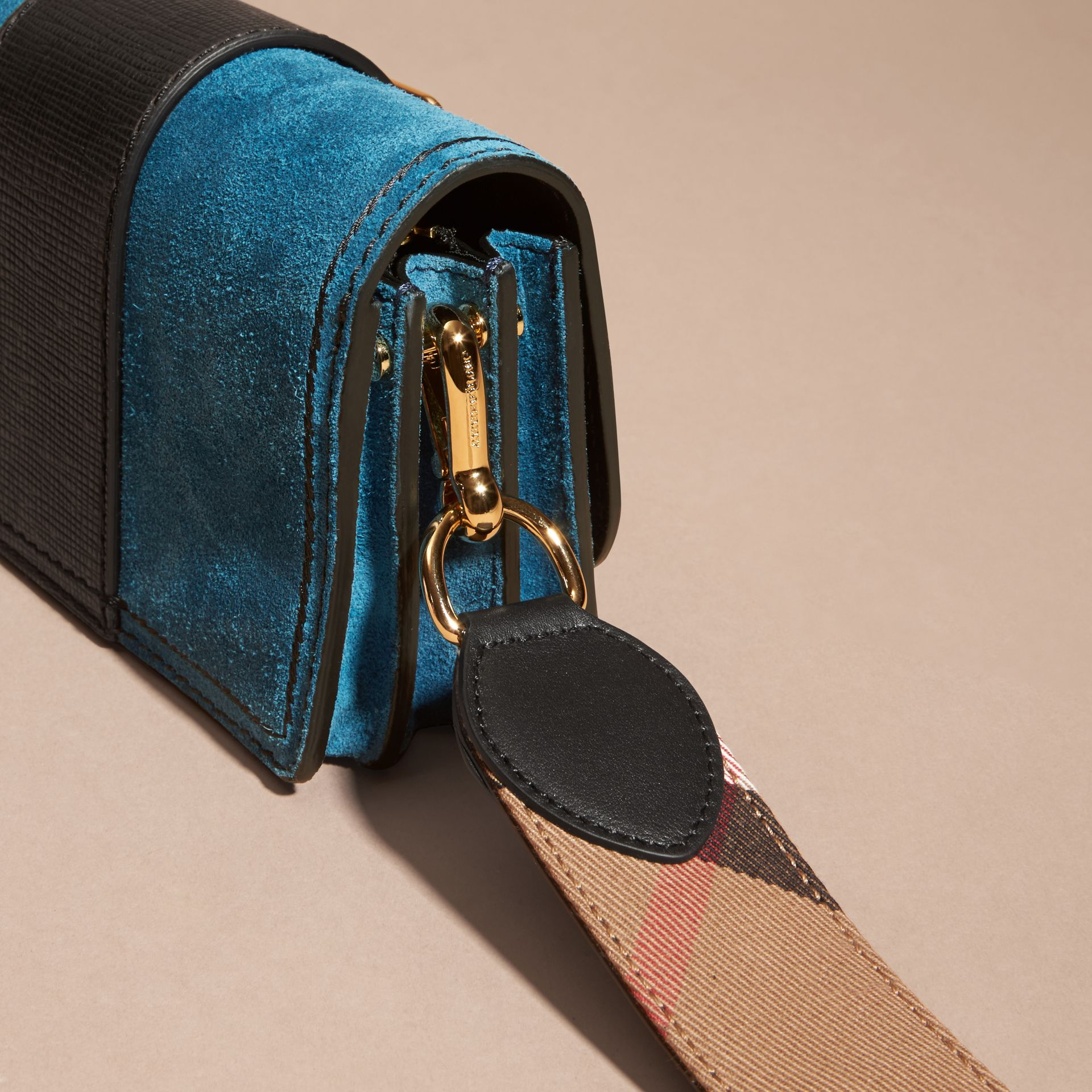The Small Buckle Bag in Suede with Topstitching Peacock Blue /black - gallery image 7