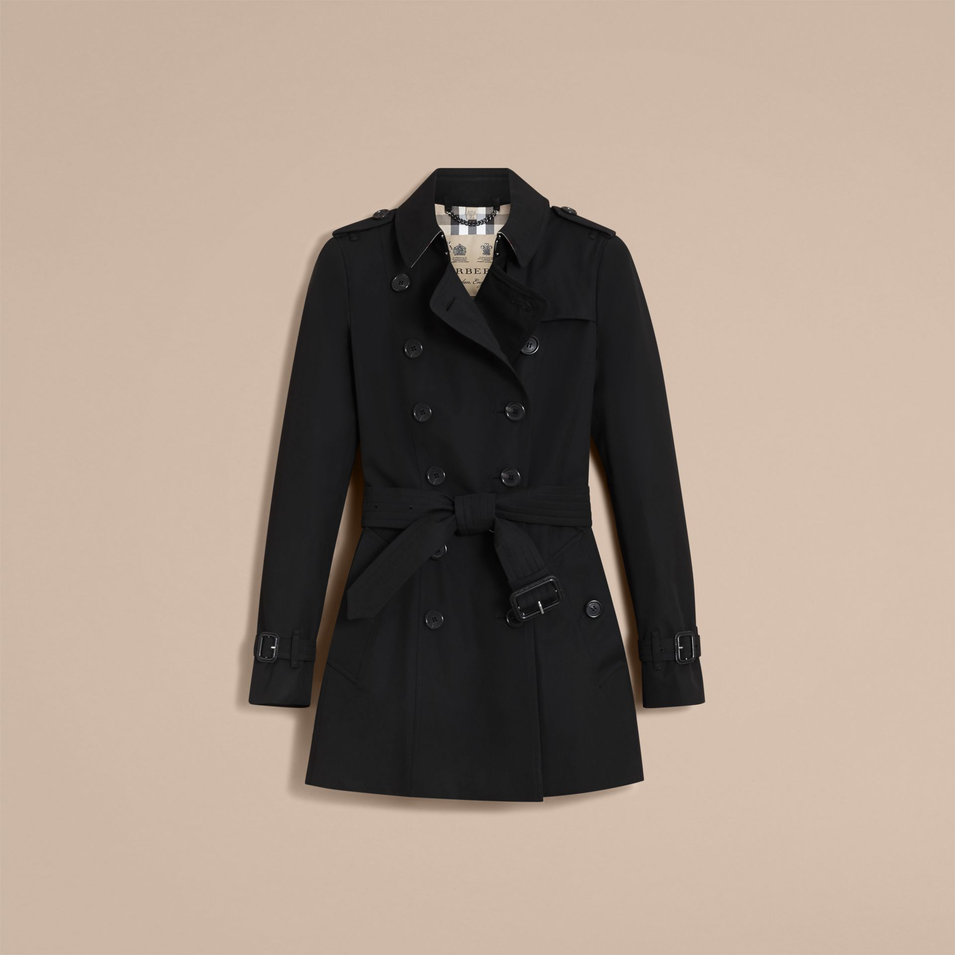 The Chelsea – Short Heritage Trench Coat in Black - gallery image 4