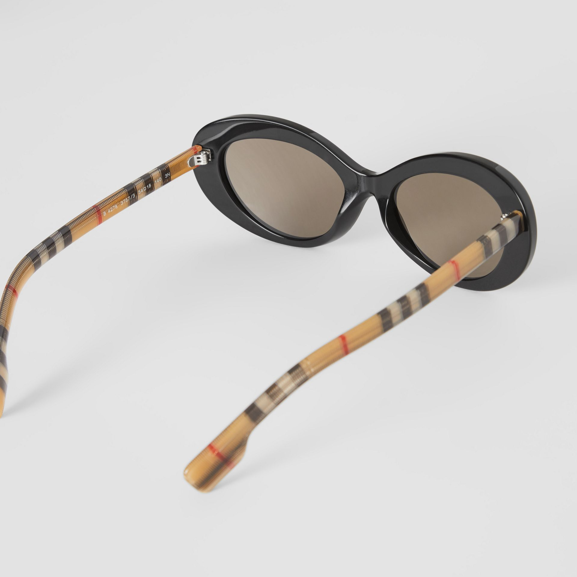Vintage Check Detail Cat-eye Frame Sunglasses in Black - Women | Burberry Singapore - gallery image 4