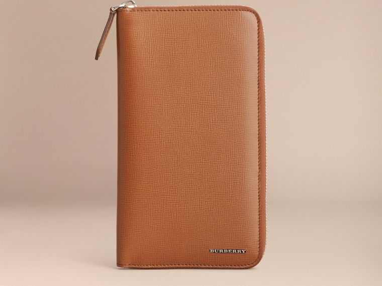 London Leather Ziparound Wallet in Tan | Burberry - cell image 1