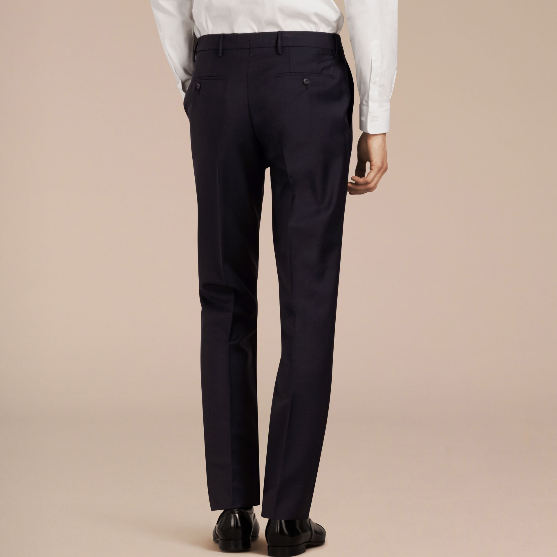 Modern Fit Wool Mohair Trousers True Navy - gallery image 3