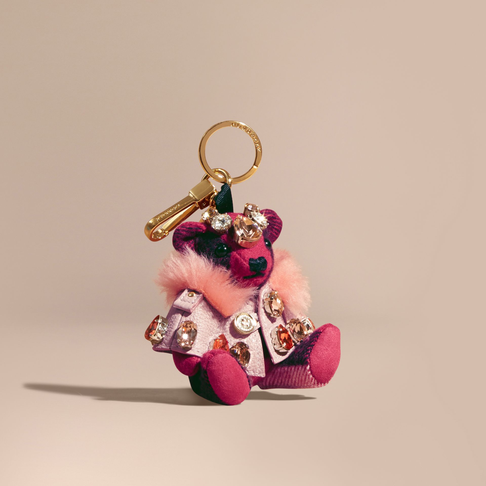 Thomas Bear Charm with Cape and Crystals in Fuchsia Pink - Women | Burberry - gallery image 0