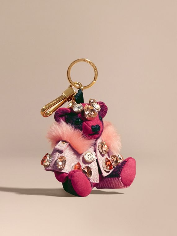 Thomas Bear Charm with Cape and Crystals Fuchsia Pink