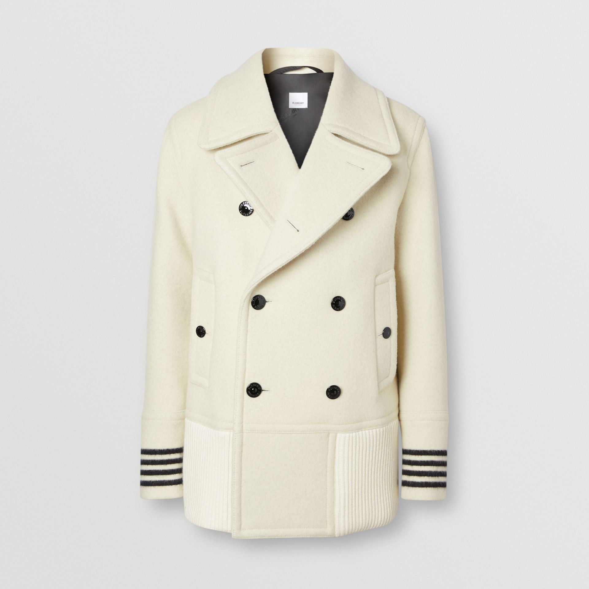 Striped Cuff Wool Pea Coat in White - Men | Burberry - gallery image 3