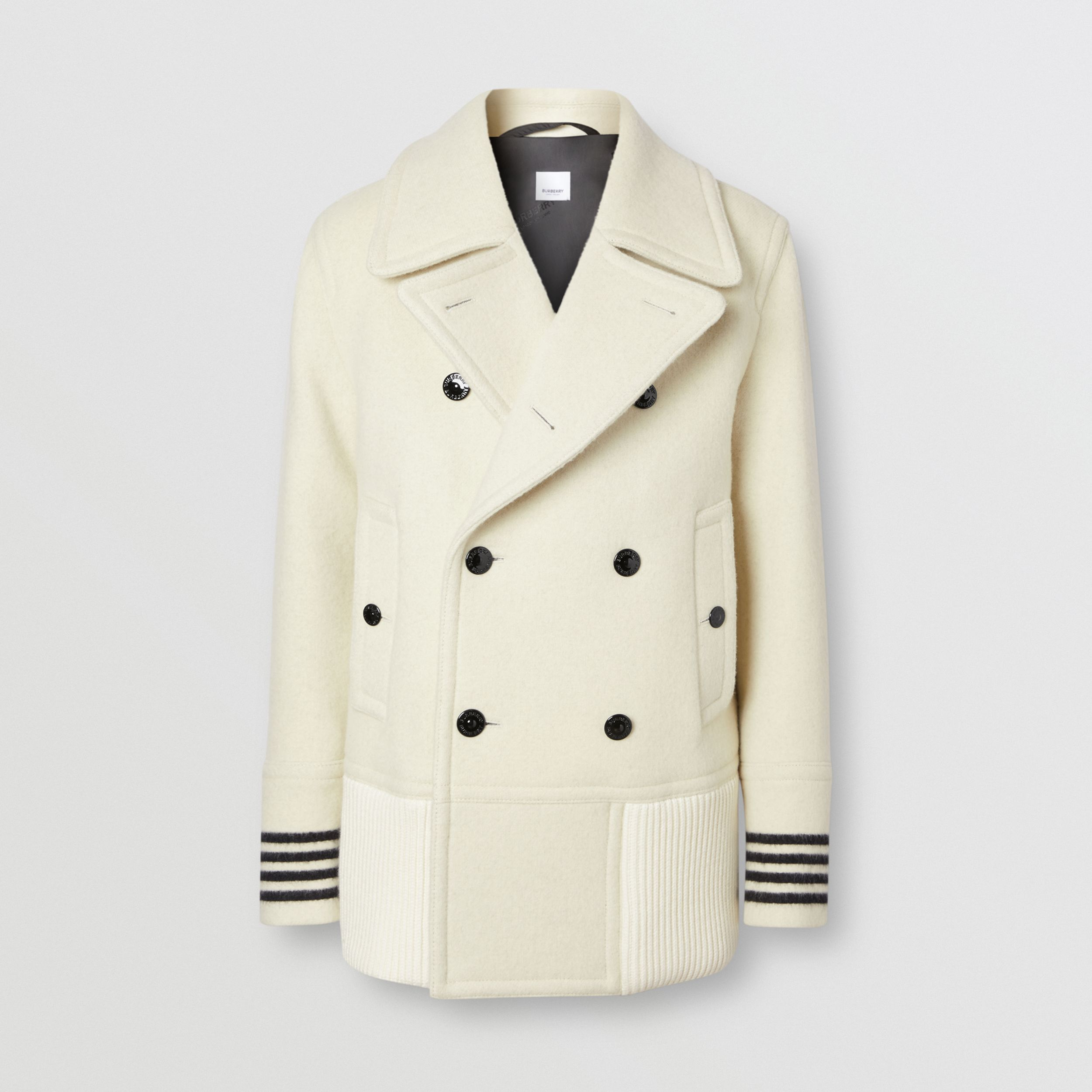 Striped Cuff Wool Pea Coat in White - Men | Burberry - 4