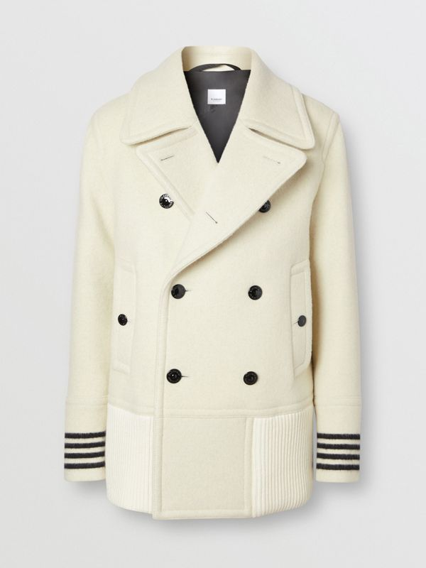 Striped Cuff Wool Pea Coat in White - Men | Burberry - cell image 3