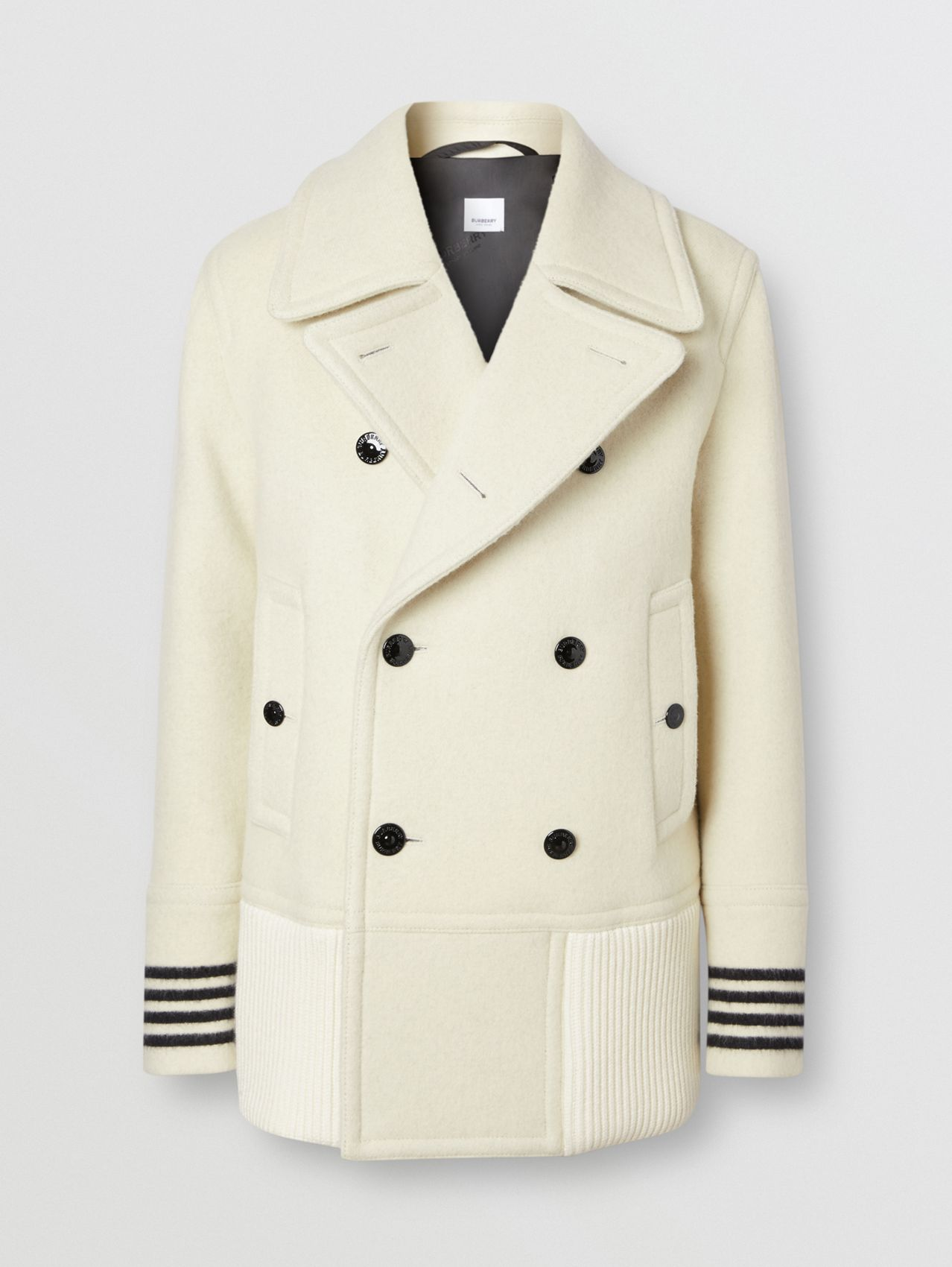 Striped Cuff Wool Pea Coat in White