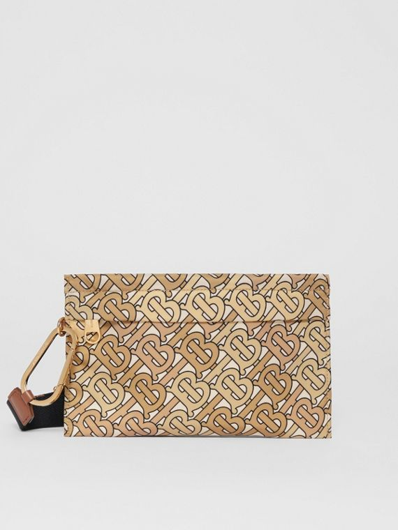 Monogram Print Nylon Zip Pouch in Beige