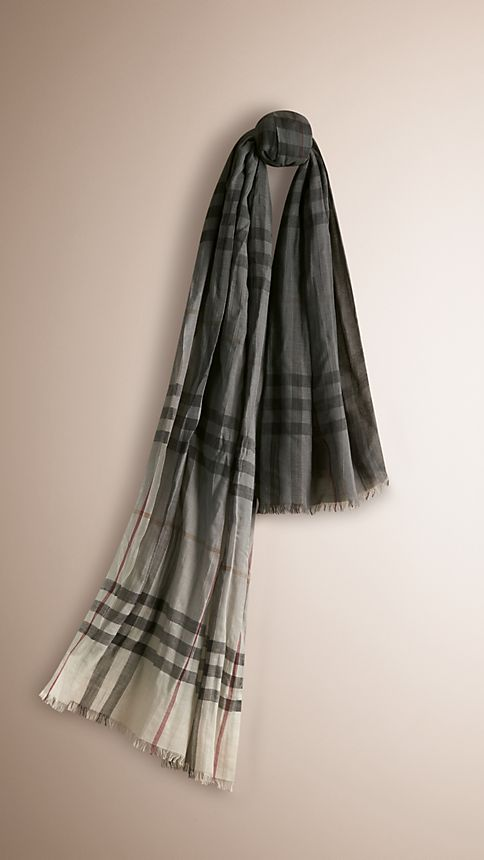 Ivory check Lightweight Check Ombre Wool Silk Scarf - Image 1
