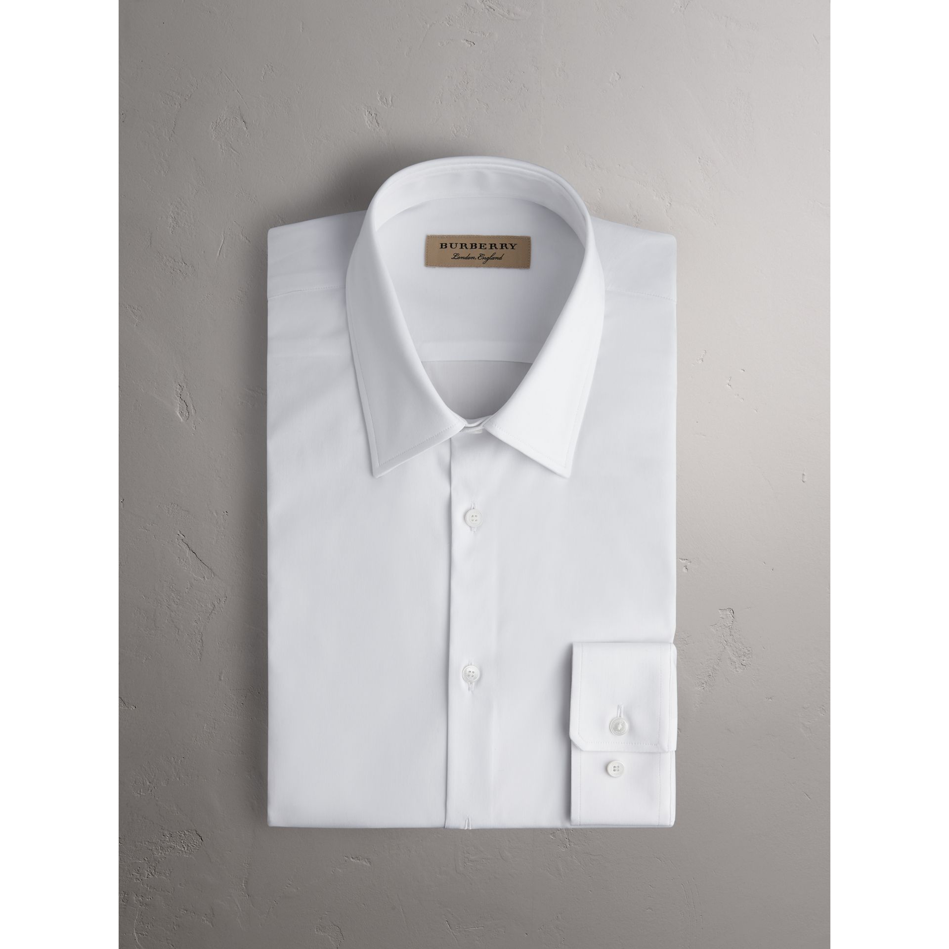 Slim Fit Stretch Cotton Shirt in White - Men | Burberry United States - gallery image 3