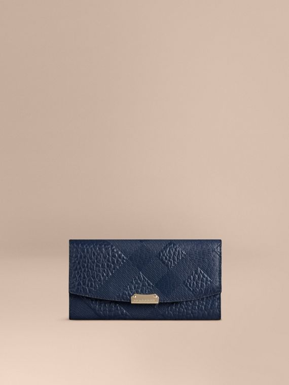 Embossed Check Leather Continental Wallet Blue Carbon