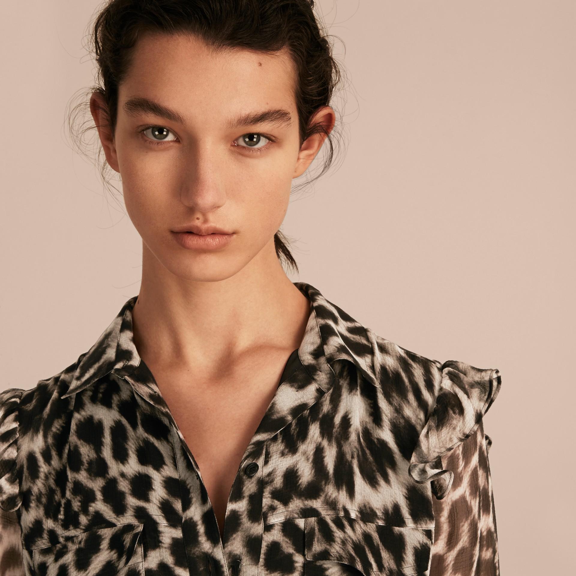 Ruffle Detail Animal Print Silk Dress - gallery image 5