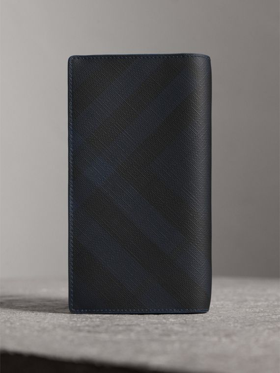 London Check and Leather Continental Wallet in Navy/ Blue - Men | Burberry Canada - cell image 2