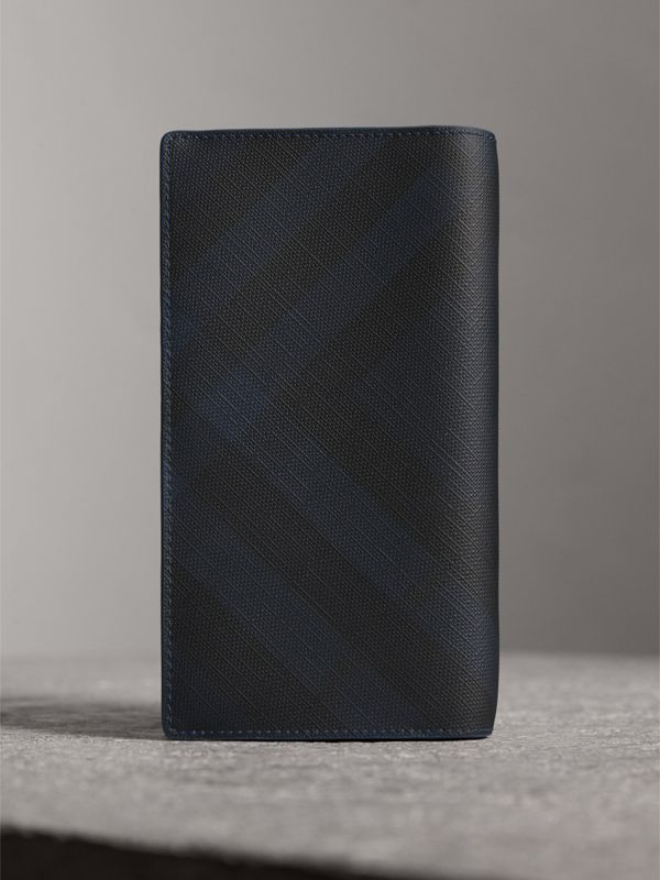London Check and Leather Continental Wallet in Navy/ Blue - Men | Burberry - cell image 2