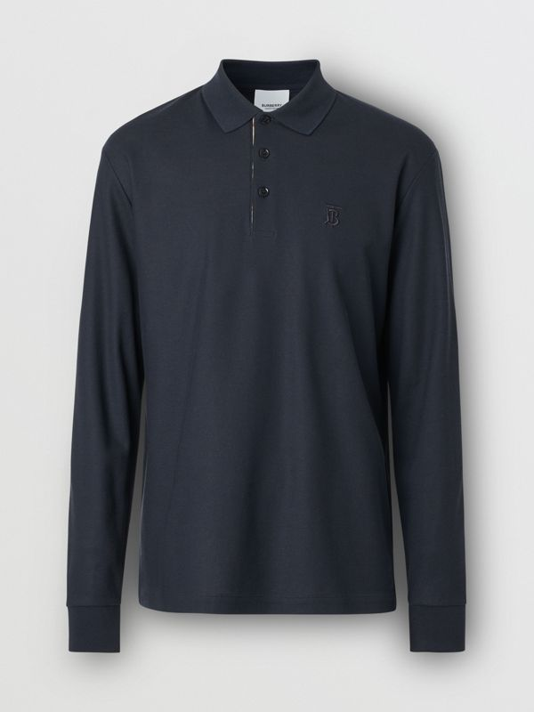 Long-sleeve Monogram Motif Cotton Piqué Polo Shirt in Navy - Men | Burberry - cell image 3