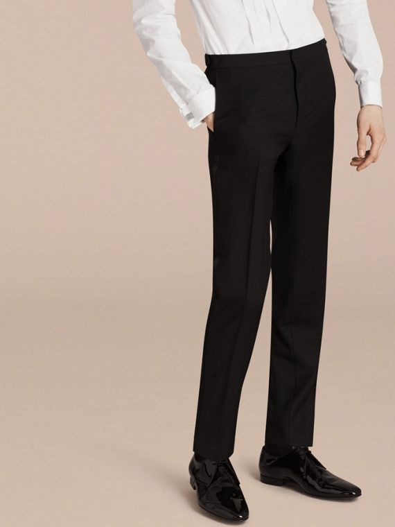 Black Slim Fit Wool Mohair Half-canvas Tuxedo - cell image 3