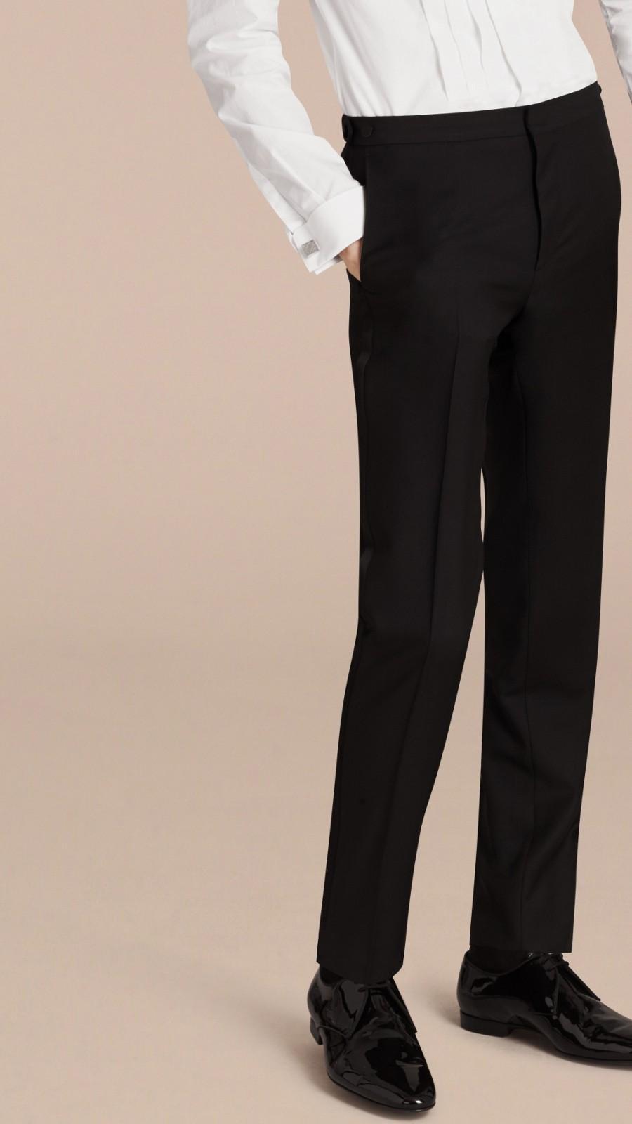 Black Slim Fit Wool Mohair Half-canvas Tuxedo - Image 4