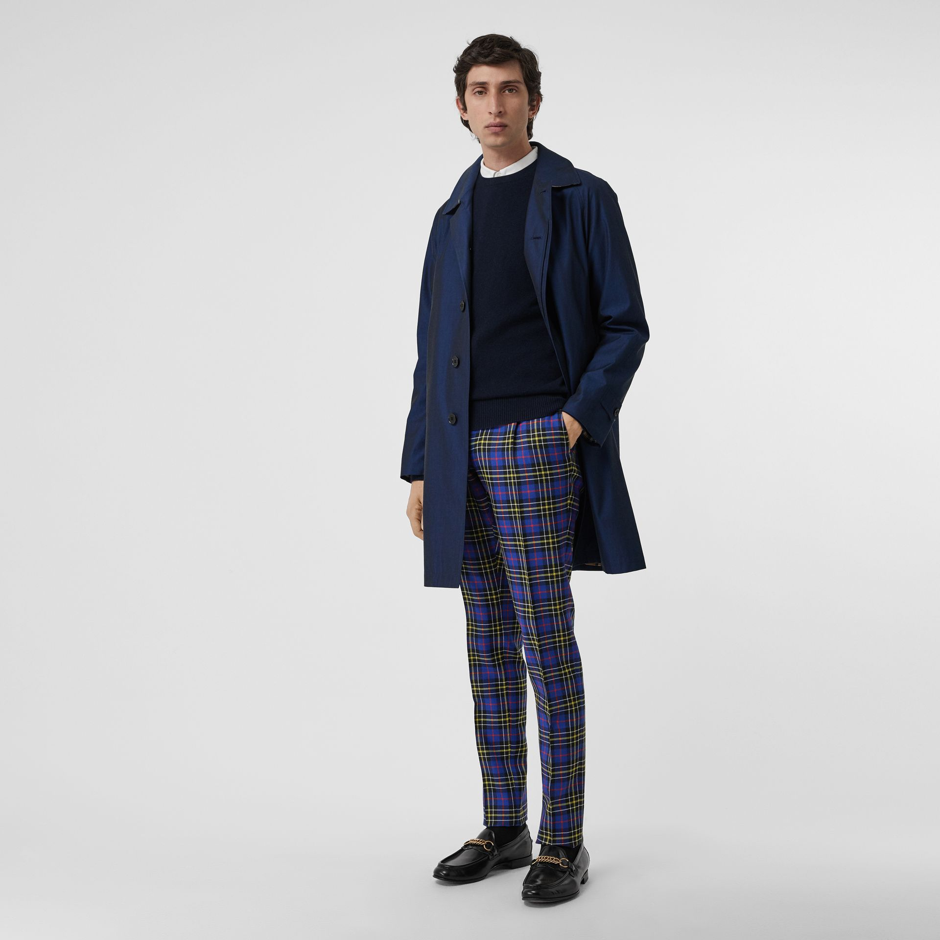 Soho Fit Tartan Wool Tailored Trousers in Sapphire Blue - Men | Burberry - gallery image 0