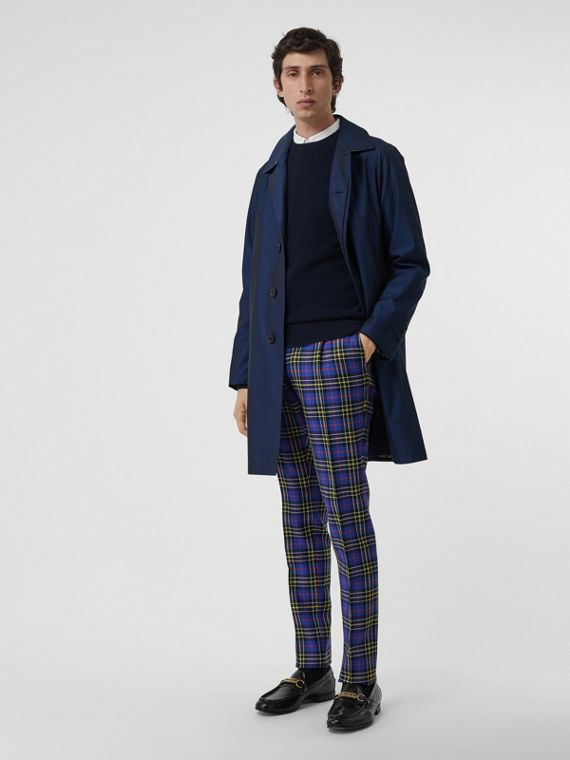 Soho Fit Tartan Wool Tailored Trousers in Sapphire Blue