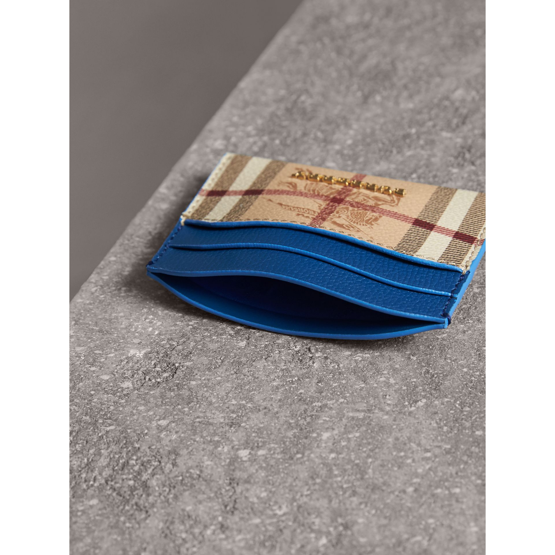 Haymarket Check and Leather Card Case in Mineral Blue - Women | Burberry - gallery image 4