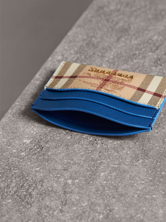 Haymarket Check and Leather Card Case in Mineral Blue - Women | Burberry - cell image 3
