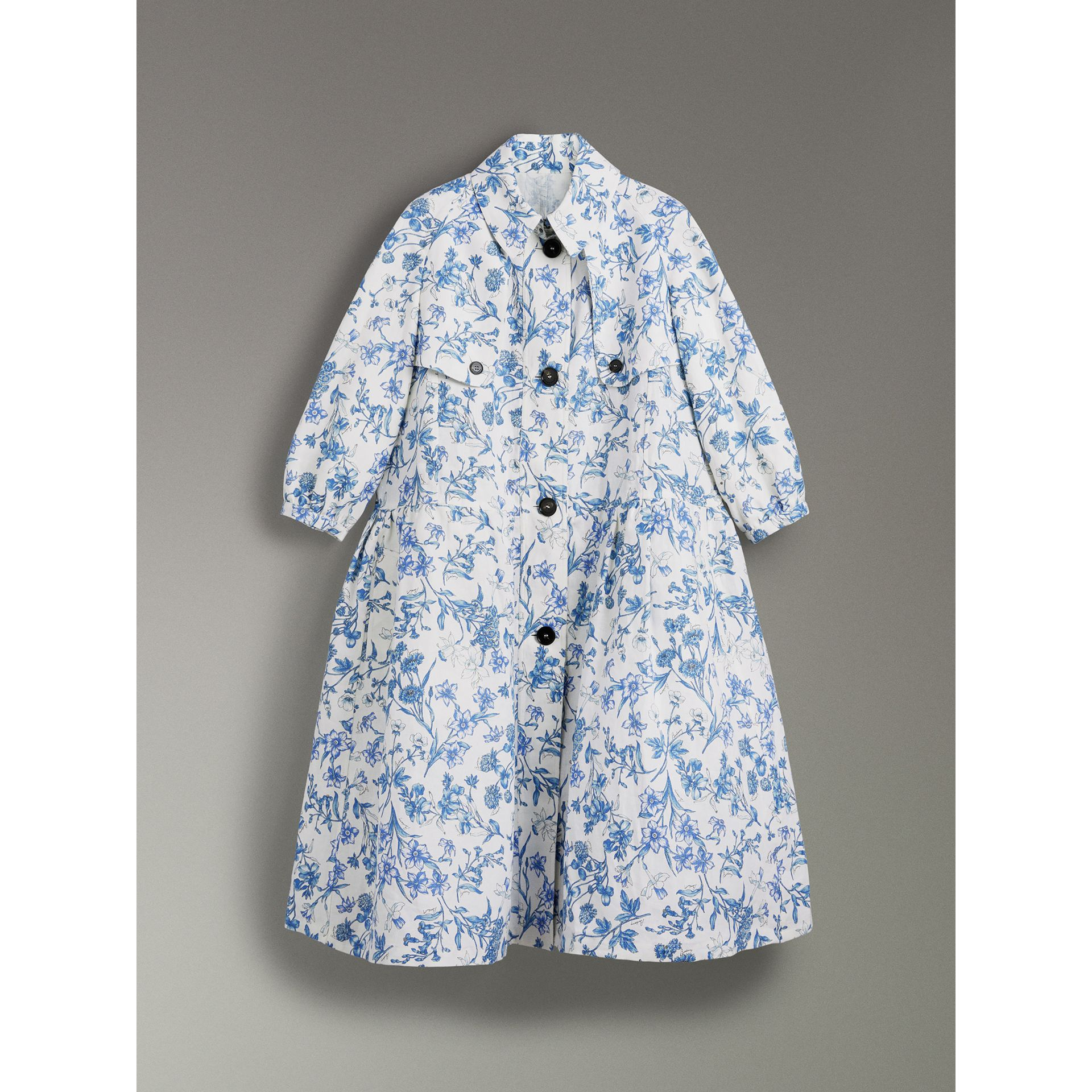 Reissued 2005 Floral Print Linen Dress Coat in Blue China - Women | Burberry Australia - gallery image 3