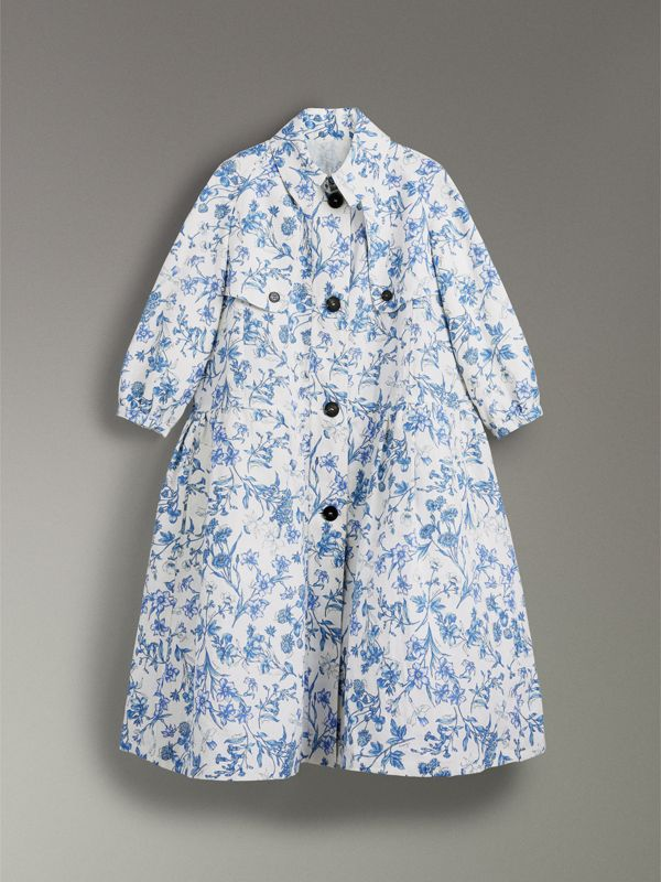 Reissued 2005 Floral Print Linen Dress Coat in Blue China - Women | Burberry Australia - cell image 3