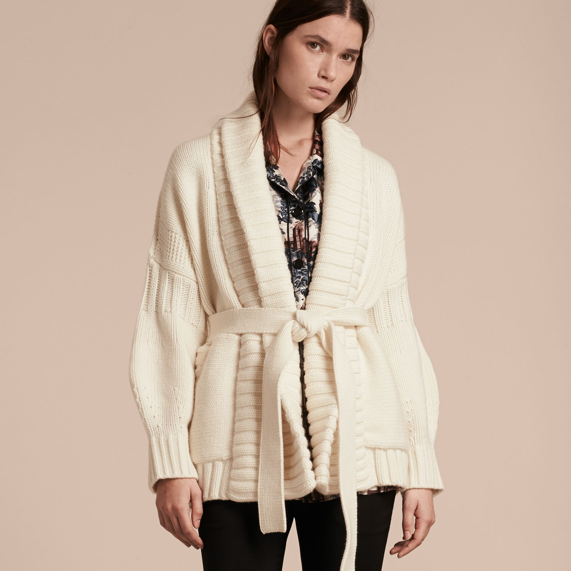 Knitted Wool Cashmere Belted Cardigan Jacket Natural White - gallery image 7