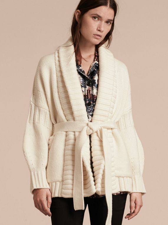 Knitted Wool Cashmere Belted Cardigan Jacket Natural White