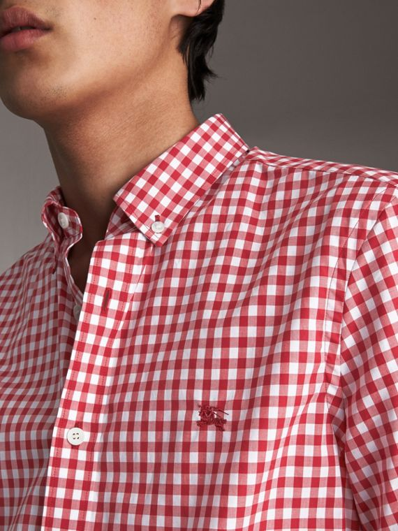Short-sleeve Button-down Collar Cotton Gingham Shirt in Parade Red - Men | Burberry - cell image 2