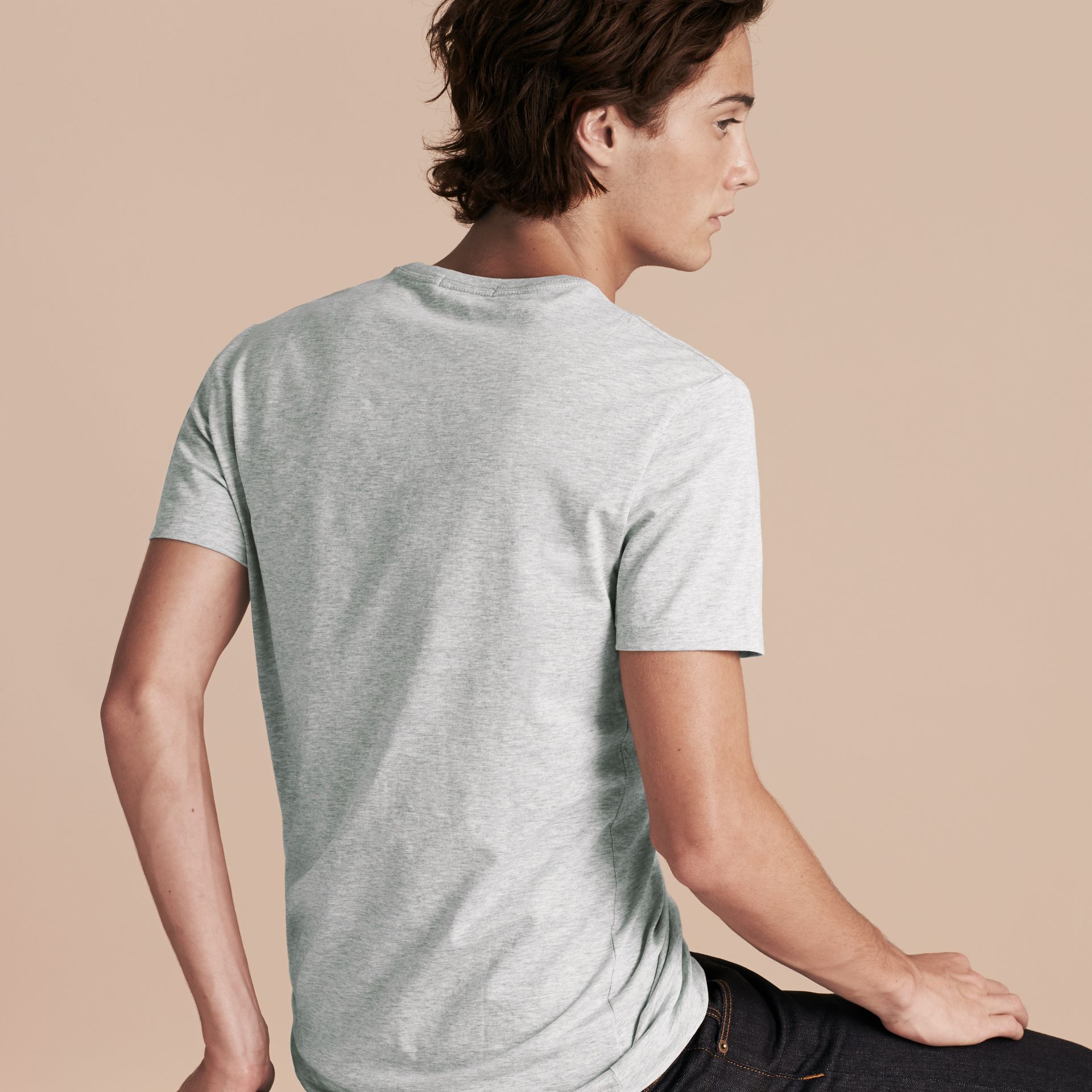 Cotton Jersey T-shirt Pale Grey Melange - gallery image 3