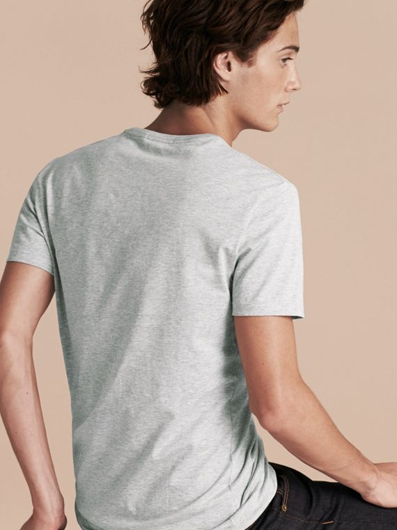 Cotton Jersey T-shirt in Pale Grey Melange - Men | Burberry Canada - cell image 2