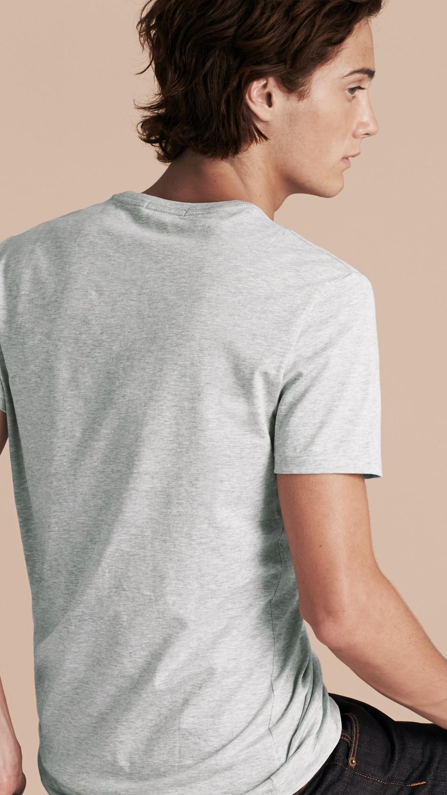 Pale grey melange Liquid-soft Cotton T-Shirt Pale Grey Melange - Image 3