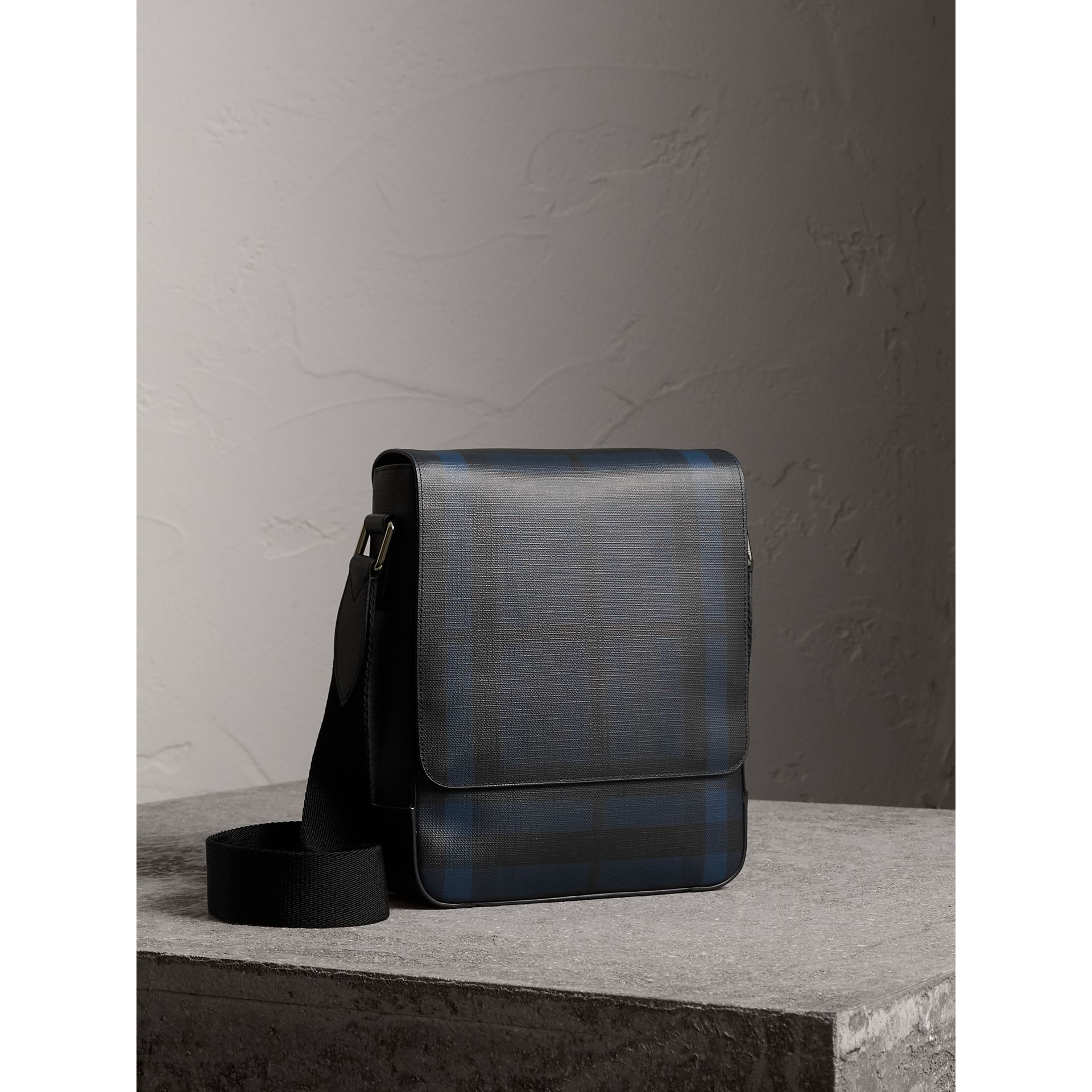 London Check Crossbody Bag in Navy/black - Men | Burberry - gallery image 7