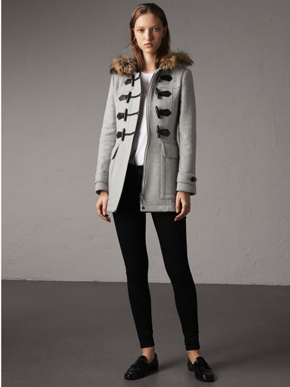 Wool Duffle Coat with Detachable Fur Trim in Light Grey Melange