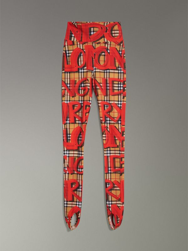 Graffiti Print Leggings in Bright Red - Women | Burberry - cell image 3