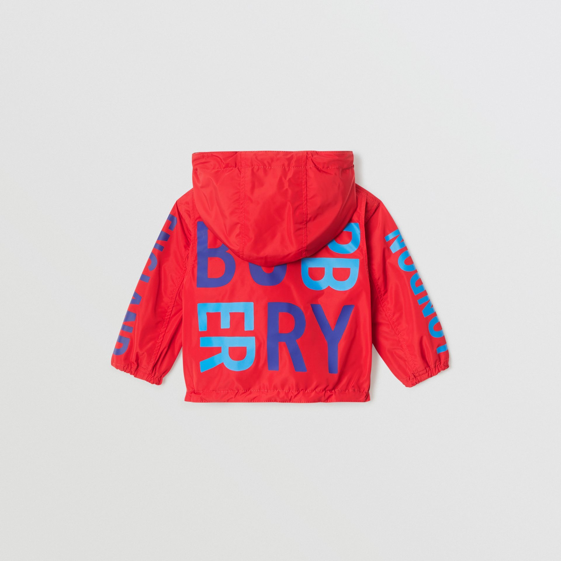 Logo Print Reversible Hooded Jacket in Bright Red - Children | Burberry - gallery image 4