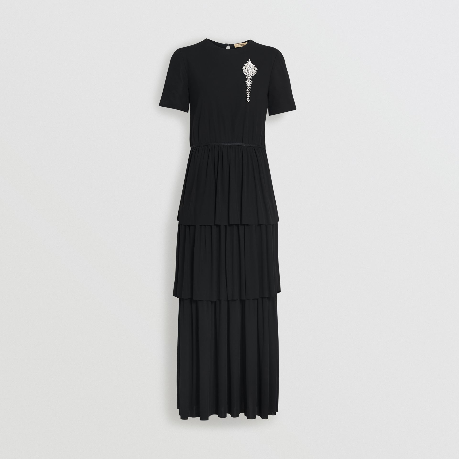 Crystal Brooch Detail Tiered Jersey Dress in Black - Women | Burberry United Kingdom - gallery image 3