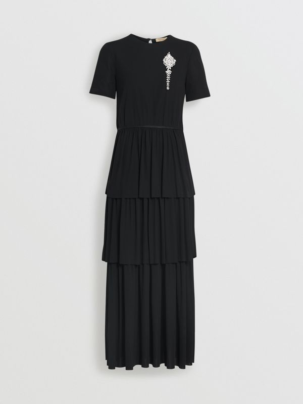 Crystal Brooch Detail Tiered Jersey Dress in Black - Women | Burberry - cell image 3