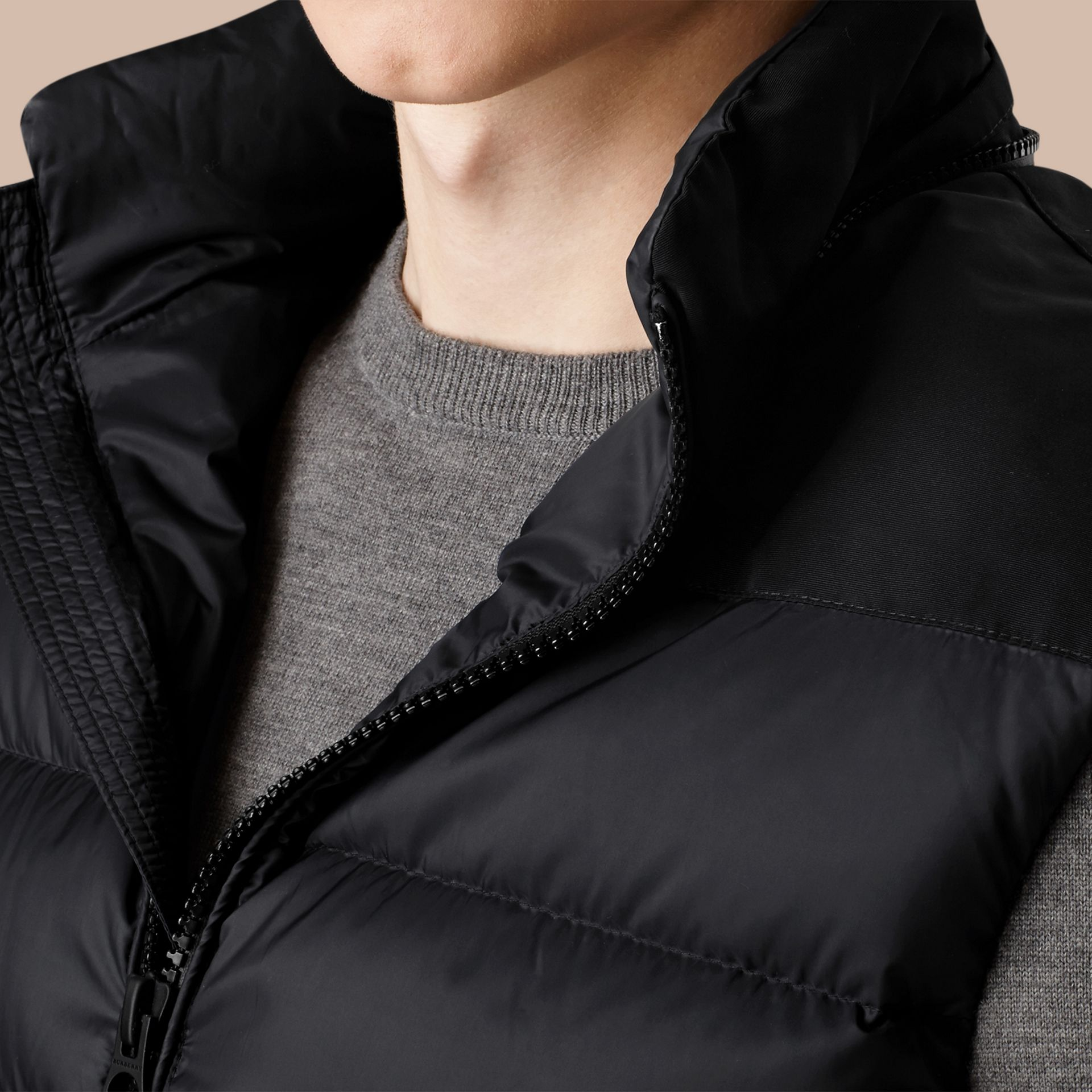 Black Down-filled Technical Gilet with Detachable Hood Black - gallery image 2