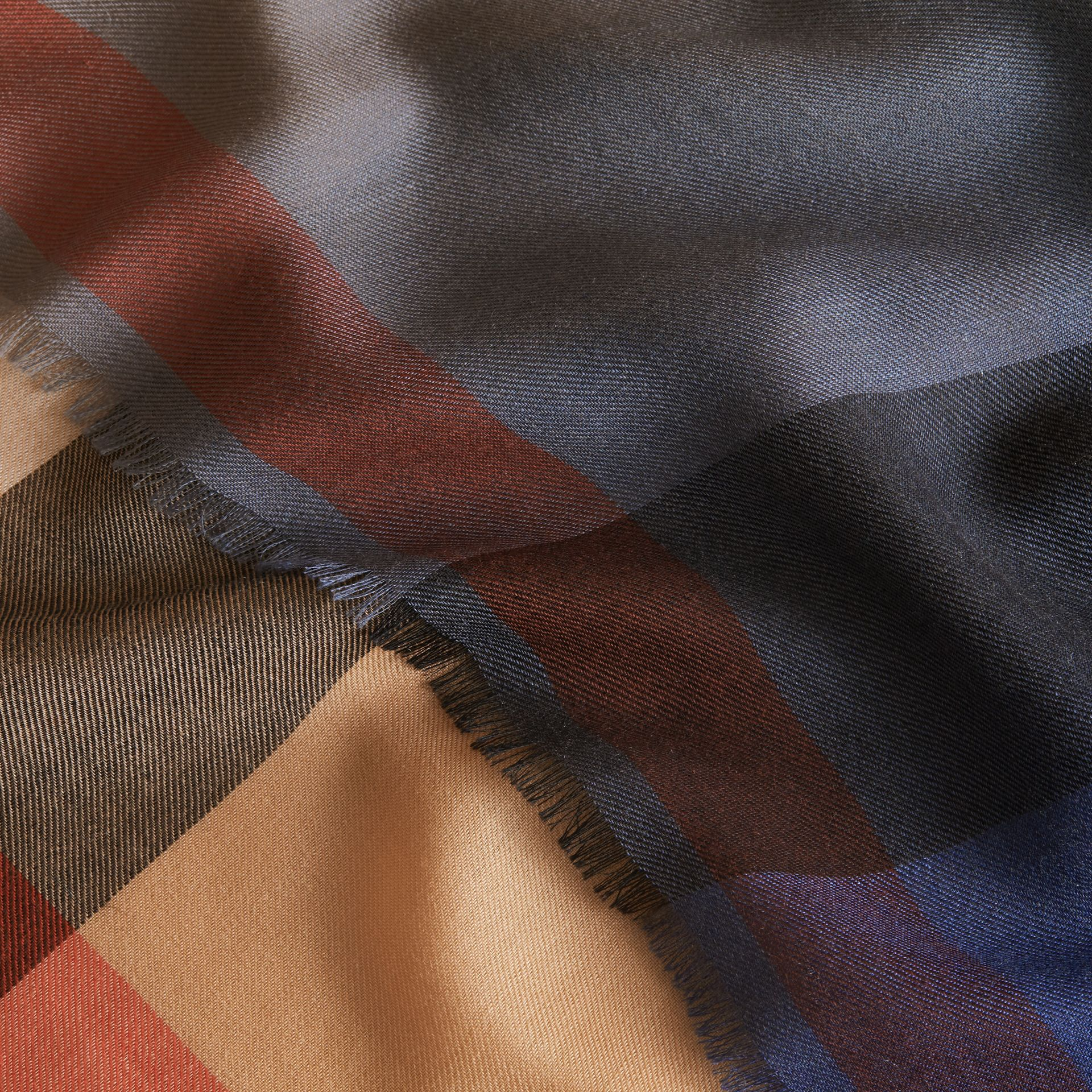 The Lightweight Cashmere Scarf in Ombré Check in Camel/navy | Burberry - gallery image 5