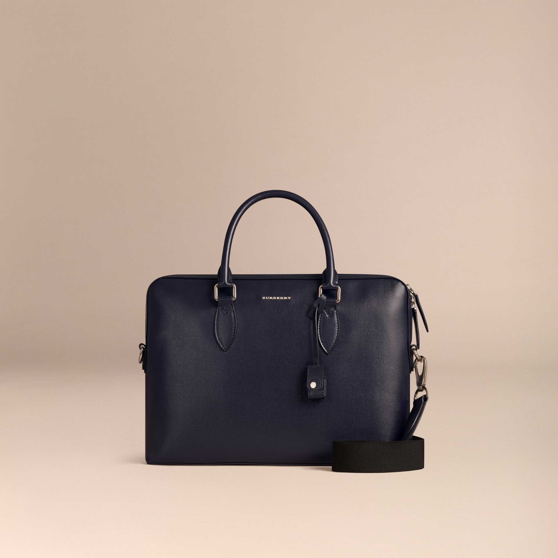The Slim Barrow in London Leather Dark Navy - gallery image 7