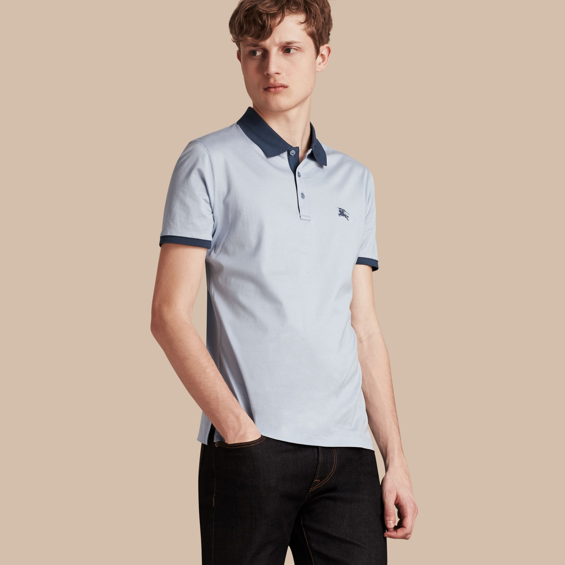 Light blue Fitted Cotton Polo Shirt with Tonal Trim Light Blue - gallery image 1