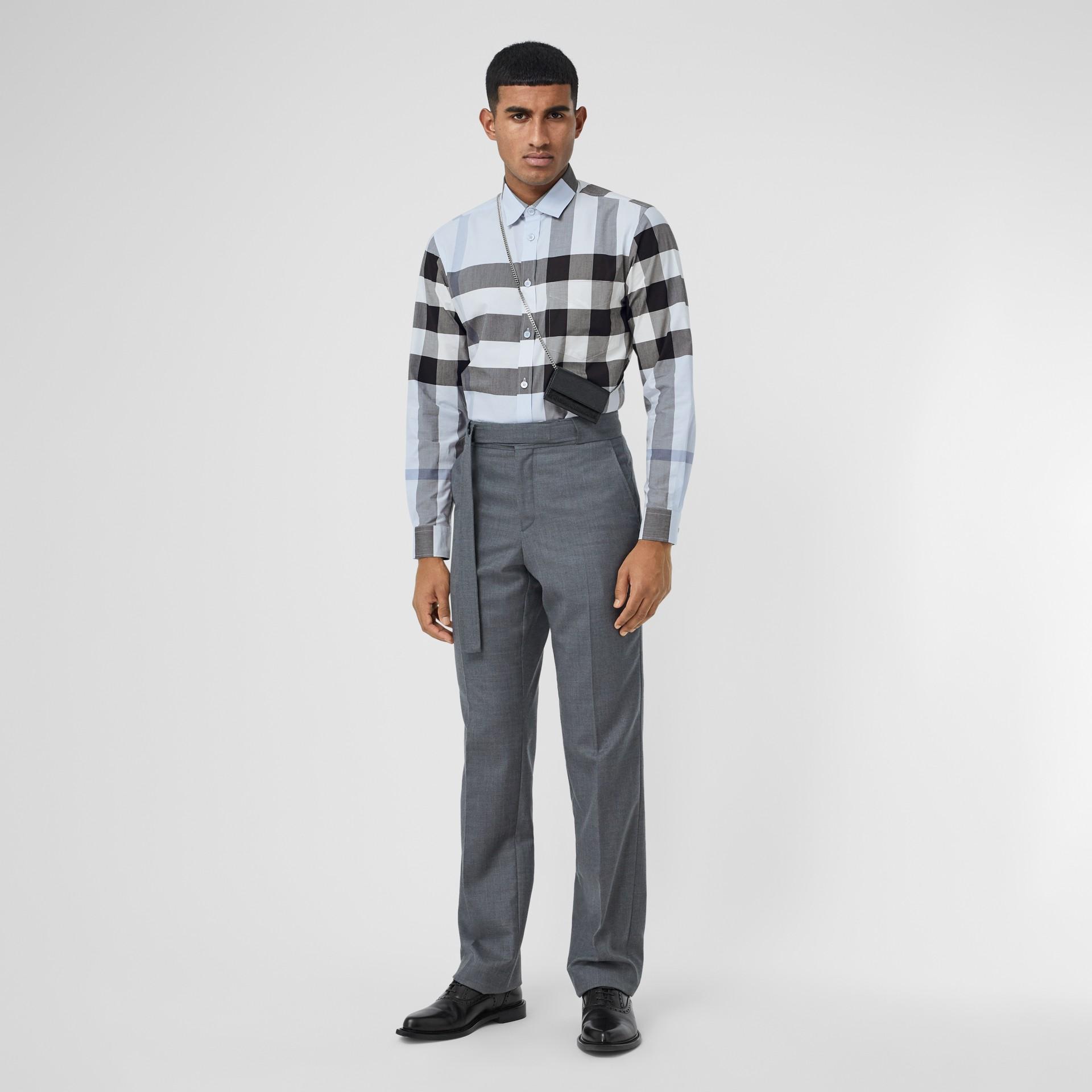 Check Stretch Cotton Poplin Shirt in Chalk Blue - Men | Burberry United Kingdom - gallery image 5