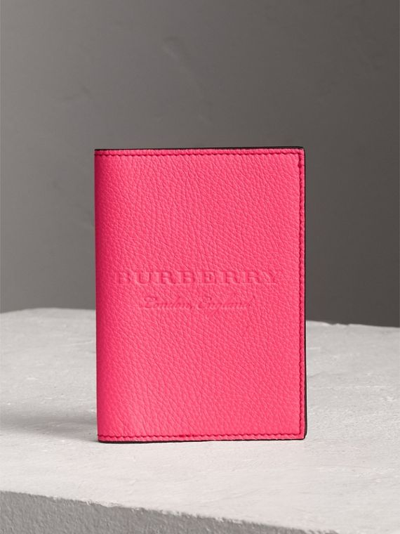 Embossed Leather Passport Holder in Bright Pink