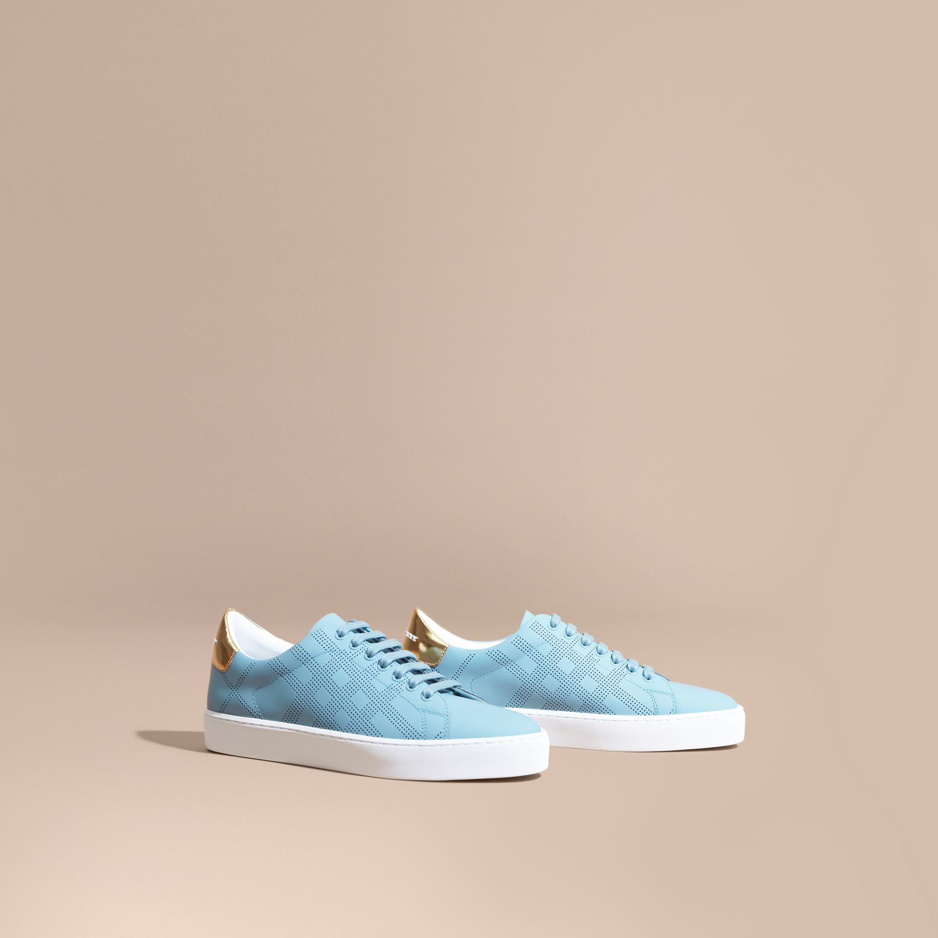Perforated Check Leather Trainers Powder Blue - gallery image 1
