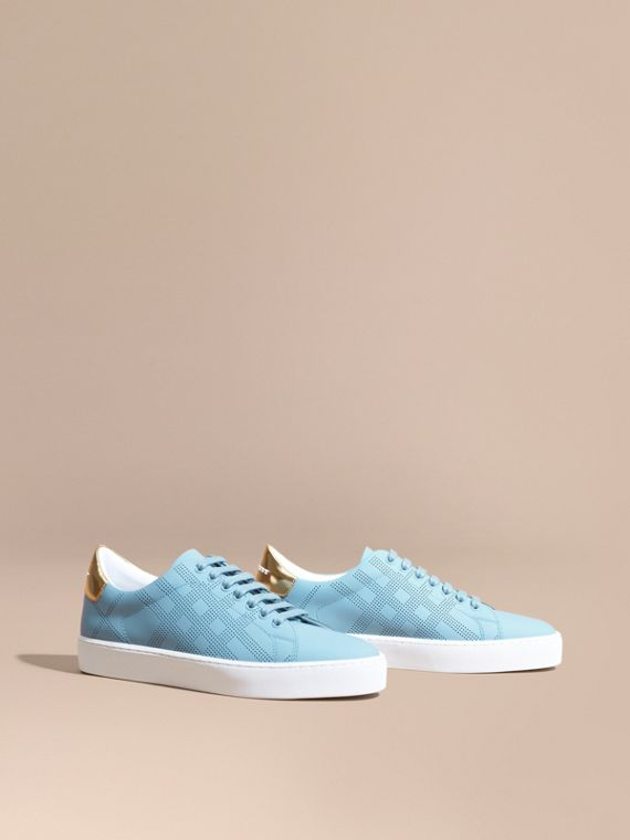 Perforated Check Leather Trainers Powder Blue
